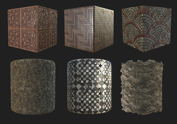 personal substances - all prodecurally generated with Substance Designer